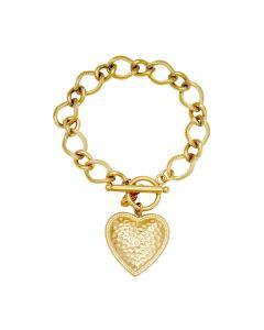 Goudkleurige schakelarmband met hart-bedeltje