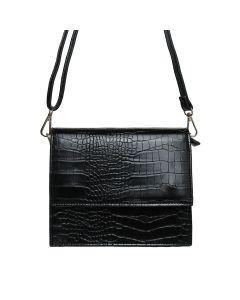 Zwarte tas met croco motief
