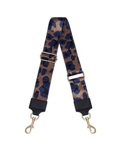 Schouderband met panterprint in brons en donkerblauw
