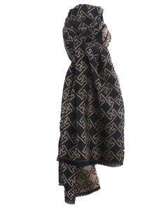 Zachte wol-blend sjaal met ornament print in beige