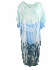 Jurk met tie dye print in mintgroen en blauw