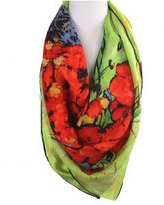 Vierkante zijden sjaal in groen met bloemenprint