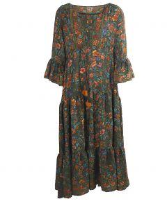 Lange zijden maxi jurk in donkergroen met bloemenprint