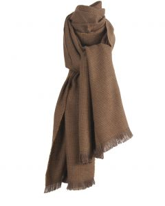 Bruine wol-blend sjaal met geweven stippen patroon