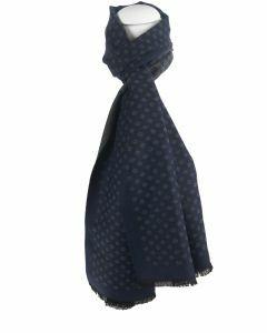 Donkerblauwe zachte wol-blend sjaal met ruitvorm in taupe