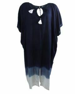 Lange kaftan in donkerblauw met kwasten franjes