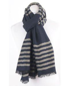 Donkerblauwe sjaal met geweven beige strepen