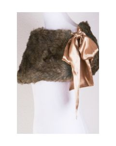 Blended brown fur stole with bow