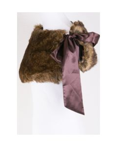 Brown blended fur stole with brown bow