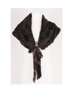 Deep dark brown fun fur stole with satin bow tie closure