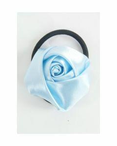Light blue satin rose hair tie