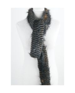 Tawny and black Fun fur scarf
