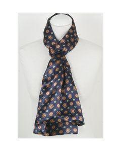 Donkerblauwe zijden herensjaal met mandala-stippenprint
