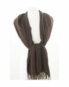 Solid dark brown supple pashmina scarf