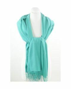 Soepelvallende effen zeegroene pashmina sjaal