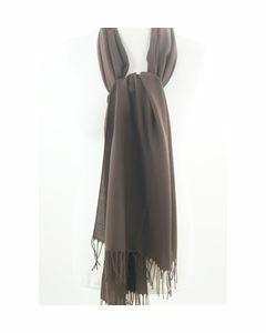 Plain dark brown pashmina scarf, slim cut