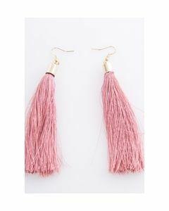 Earrings with old rose tassel