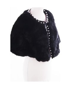 Black faux cape with pearl studs