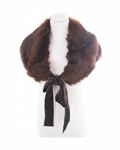 Chestnut brown mixed fun fur stole