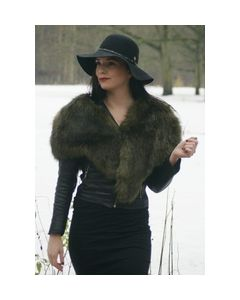 Army green satin lined faux fur stole