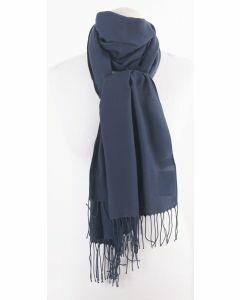 Soepelvallende effen jeansblauwe pashmina sjaal