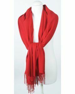 Soepelvallende effen rode pashmina sjaal