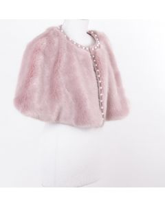Powder pink faux fur cape with pearl studs