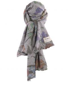 Grijze kasjmiermix sjaal met bloemenprint