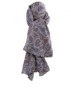 Grijze kasjmiermix sjaal met paisley print