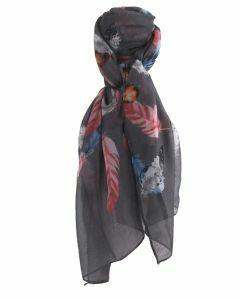 Grijze sjaal met verenprint
