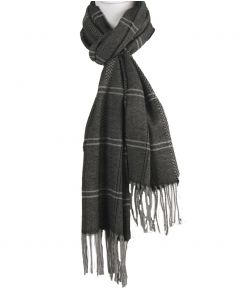 Zwarte sjaal met ruitpatroon in grijs