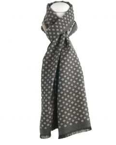 Grijze zachte wol-blend sjaal met ruitvorm in lichtbeige