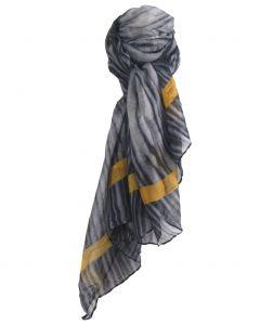 Luchtige tijgerprint sjaal in grijs en okergeel
