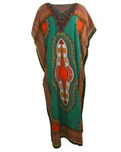 Koeldragende kaftan met ornament print in groen-oranje