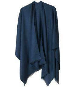 Effen omslagdoek in jeansblauw
