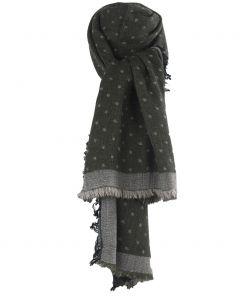 Fijn geweven sjaal in legergroen met blokjes patroon