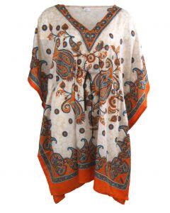 Kaftan met paisley print in oranje-turquoise