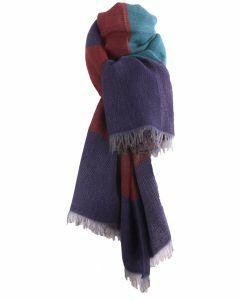 Fijn geweven sjaal met kleurvlakken in paars en petrol