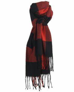 Zachte sjaal met ruiten in rood en zwart