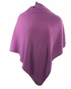 Kasjmier-blend poncho in cyclaam-roze