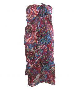 Hardroze sarong met tropische bladeren print