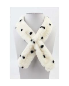 Skinny ivory colored polka dot fur scarf