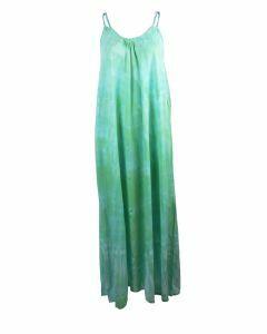 Strandjurk met tie-dye print in mintgroen en turquoise