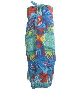 Sarong met tropische print in blauw-tinten