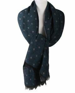 Sjaal met polkadot print in petrol