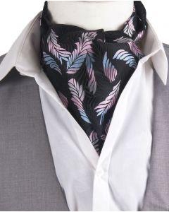 Zwarte cravat+ pochet met verenprint