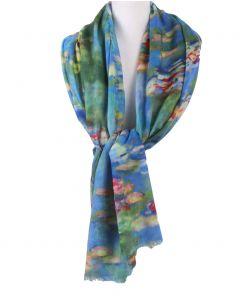 Wollen mousseline sjaal met een aquarel schildering van waterlelies