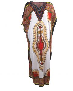 Koeldragende kaftan met ornament print in rood-wit