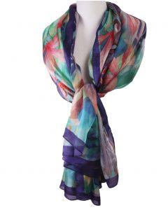 Zijden sjaal/stola met kleurrijke print