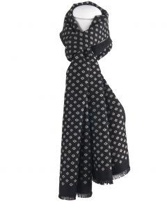 Zwarte zachte wol-blend sjaal met ruitvorm in lichtbeige